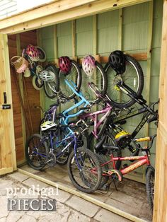 DIY Bike Garden Shed Tutorial from Cedar Wood - Prodigal Pieces Bicycle Storage Shed, Outdoor Bike Storage, Garden Tool Storage, Bike Shed, Shed Storage, Bike Storage Solutions Outdoor, Outside Storage, Garden Projects, Garden Tools