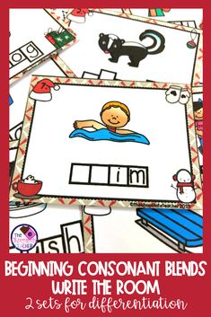 Christmas Consonant Blends Phonics Write the Room Activity - Colorful Dreams Kindergarten Nursery Fun Phonics Activities, Teaching Phonics, Teaching Resources, Activity Centers, Literacy Centers, Phonics Blends, First Grade Phonics, Engage In Learning, Phonics