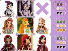 All about Monster High: Ever After High character color comparisons