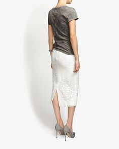 A.L.C. Lucas Lace Pencil Skirt: White | Shop IntermixOnline.com
