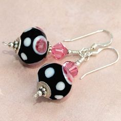Pink Black Lampwork Handmade Earrings Swarovski OOAK Beaded Jewelry | ShadowDogDesigns - Jewelry on ArtFire