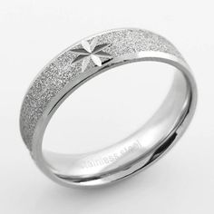Style Sanctuary  - Stainless Steel Sandblasted Wedding Ring with Diamond