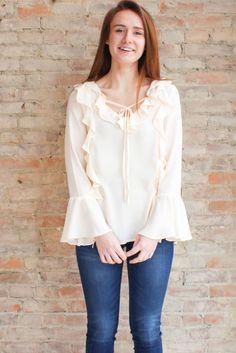 Salina Ruffle Blouse #affordable-boho-clothing #affordable-boutique-clothing #affordable-ruffle-blouse