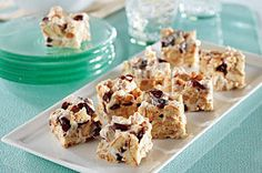 These Nutty Mallow Bites are like s'mores, swapping vanilla wafers for graham crackers and dried cranberries and nuts for chocolate.