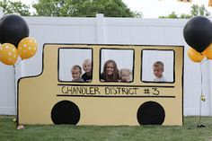 School bus photo booth for birthday party. Twins 3rd Birthday: School Bus Party