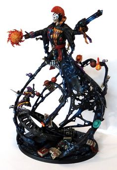Warhammer 40k - Amazing conversion work! Looks like Nagash concerted into a counts-as Eldar Wraithknight, modeled after the Harlequin Laughing God! A bit literal with that Suncannon :)