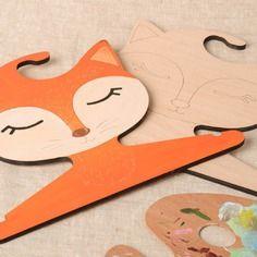 Lot de cintres en bois faits main renards 2 pièces pour enfant objets à décorer