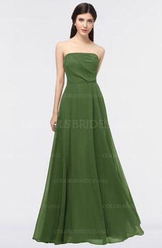 4e10ebb7429a Garden Green Modest A-line Sleeveless Zip up Floor Length Plainness Bridesmaid  Dresses (Style