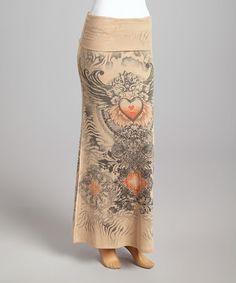 Brown Heart Fold-Over Maxi Skirt #zulily #zulilyfinds