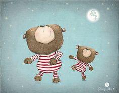 art print illustration bear brown bear red von staceyyacula