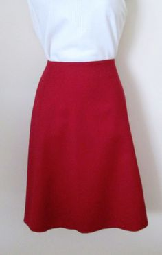 Harve Benard Size 16 True Red Wool A Line Skirt Fully Lined Career  #HarveBenard #ALine
