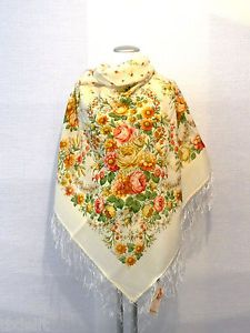 """XL Beautiful Original Pavlovo Posad (Pavloposad) Russian shawl with silk fringes.  Material: 100% wool New item with tags. Size:  49.2'' x 49.2'' / 125 cm x 125 cm (measured without fringes) Elaborate designer's shawl """"Malinovka"""", created by the artist Valeria Fadeeva."""