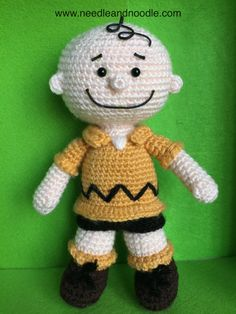 Charlie Brown Amigurumi Crochet Pattern by Needleandnoodle on Etsy