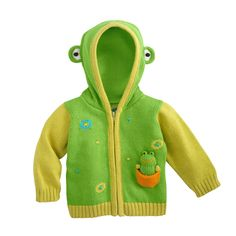 Fair Trade Flop the Frog Fair Trade Organic Baby Cardigan Sweater from fairindigo.com 59.90  Joobles organic fair trade baby accessories and toys.  Stuffed animal, hoodie sweater, animal head corner blankie, mittens, booties, knit rattle and hat for each. There's a blue and orange giraffe, yellow and green frog, lime and purple penguin, rose and pink lamb, lime and blue raccoon (multistriped sleeves), cadet blue and white with black spots dog, turquoise and brown monkey, and red and gold…