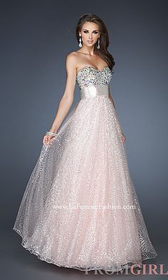 Strapless A-line Dress by La Femme at PromGirl.com Look like a princess in this ball gown