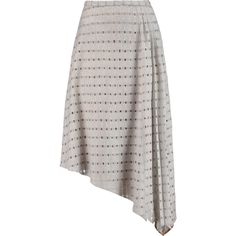 Carven Asymmetric open-knit wool-blend skirt ($240) ❤ liked on Polyvore featuring skirts, grey, asymmetrical skirt, asymmetrical hem skirt, carven skirt, draped skirt and wool blend skirt