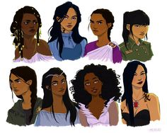 Yeah, but like, girls with black hair kick ass… Top: Nehemia Ytger (Throne of Glass), Cecily Herondale (The Infernal Devices), Reyna Arellano (Per. Girls With Black Hair, Black Girl Art, Art Girl, Character Drawing, Character Concept, Concept Art, Isabelle Lightwood, Katniss Everdeen, Arte Black
