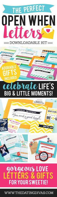 """Printable """"Open When..."""" Love Letters - seven thirty three"""