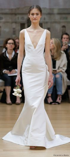 oscar de la renta spring 2018 bridal sleeveless deep v neck simple clean elegant fit and flare wedding dress open v back sweep train (11) mv  -- Oscar de la Renta Spring 2018 Wedding Dresses