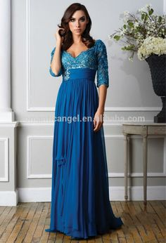 [ A-Line/Princess V-neck Sweep Train Chiffon Lace Mother of the Bride Dress With Beading Evening Dress Long, Evening Dresses With Sleeves, Cheap Evening Dresses, Gowns With Sleeves, Evening Gowns, Evening Party, Half Sleeves, Dressy Dresses, Modest Dresses