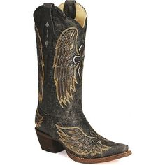 New!Angel Wings! Corral Boots Angel Wings Cross Inlay Pointed Toe Ladies Cowboy Boot