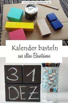 DIY Kalender aus Bauklötzen basteln mit Tafelfarbe #Kalender #diyKalender #tafelfarbe Diy Upcycling, Repurposing, Diy Kalender, Coasters, Place Cards, Place Card Holders, Recycling, German, Creativity