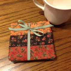 A Set of Four Quilted Floral Coasters Fall Colors by AQuiltIsBorn