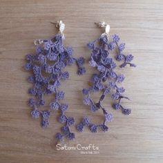《受注製作》Pierces, Tatting Jewelry Flower strings_moss green