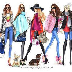 Fashion illustration of Street fashion by Houston fashion illustrator Rongrong DeVoe, more of her fashion illustrations at www.rongrongdevoe.com