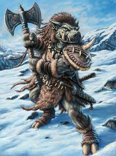 Jabaliares Se les compara en el tamaño con enanos, posen un don nato para presentir y evitar peligros, es una rasa guerrera muy gruñona y brusca Peligro 6-8