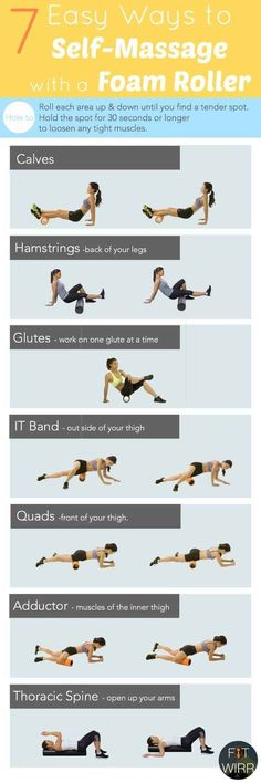Workout Exercises: Foam rolling your tight muscles is the closest thing to getting deep tissue massage. It loosens the tight muscles and prepares your body for a workout. Fitness Workouts, Lower Ab Workouts, Easy Workouts, Fitness Tips, Health Fitness, Workout Routines, Workout Exercises, Hip Flexor Exercises, Squats Fitness