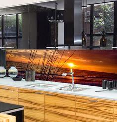 ESG Sicherheitsglas Motiv - Haus How to Crafts Glass Kitchen, Kitchen Backsplash, Back Painted Glass, Accent Walls In Living Room, Kitchen Necessities, Splashback, Küchen Design, Woodworking, Modern Kitchens