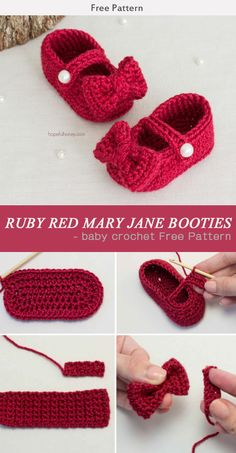 RUBY RED MARY JANE BOOTIES - baby crochet Free Pattern #Freepattern #Crochet