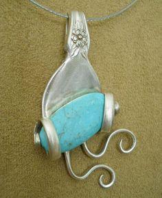 Silver Spoon Jewelry, Fork Jewelry, Metal Jewelry, Silver Rings, Glass Jewelry, Pendant Jewelry, Bijoux Design, Schmuck Design, Jewelry Design