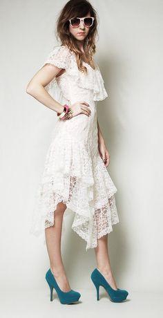 Bohemian Bride Vintage Assymetrical White Lace Wedding Dress - Victorian, Steampunk, Hippie, 1970s, Punk, Goth. $98.00, via Etsy.