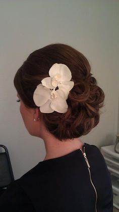 Wedding Hair Updo with Phalaenopsis orchids