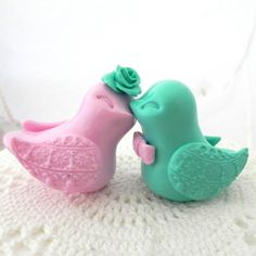 Wedding Cake Topper Love Birds Pale Pink and Mint by LavaGifts, $62.00