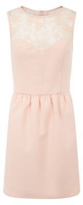 Shell Pink Lace Top Panel Skater #Dress