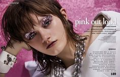 Peyton Knight models pink makeup looks in Vogue Taiwan's April issue