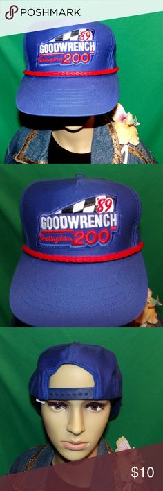 1989 Goodwrench 200 Rockinham Racing hat NASCAR 1989 Goodwrench 200 Rockinham Racing hat, RARE Embroidered Baseball Cap, Vintage Hat, almost 30 Years old! LOW & FAST Shipping. Awesome hat, it is from a collection looks unused and unworn. Hard to find 30 year old hats at all but really amazing to find one in this condition!!! It has 89 Goodwrench Rockingham 200 and a checked flag on the front all nicely embroidered. It is a blue hat with the old school matching red nylon rope. It is a stiff…