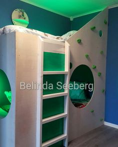 bunkbed with climbing wall, made of plywood and creativity