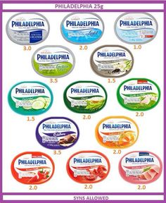 Philadelphia cream cheese slimming world syn values More astuce recette minceur girl world world recipes world snacks Slimming World Syns List, Slimming World Syn Values, Slimming World Treats, Slimming World Dinners, Slimming World Recipes Syn Free, Slimming World Plan, Asda Slimming World, Slimming World Shopping List, Slimming World Lunch Ideas