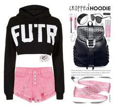 """""""Cute Trend: Cropped Hoodies"""" by beebeely-look ❤ liked on Polyvore featuring Topshop, Hogan, Victoria's Secret, casual, backpack, rippedshorts, CroppedHoodie and zaful"""