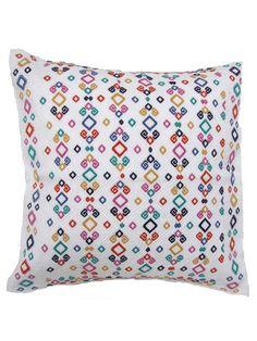 Handwoven Lara Deluxe Pillow Cover Multicolor   Funda Lara Deluxe Teji   Chiapas Bazaar  Fairtrade Mexican Artisanal Collection