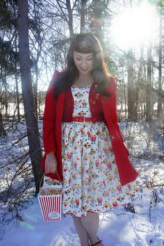 Outfit Details: Rose Dress in Delicious Sundae Print: Bernie Dexter Dream of the Crop Cardigan in Red: ModCloth Vintage. Fit N Flare Dress, Fit And Flare, Pin Up Style, My Style, Indie Style, Rose Dress, Cropped Cardigan, Fashion Gallery, Red Sweaters