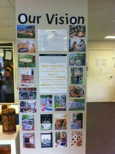 photo board illustrates the school vision--cool idea to make to show classroom vision Reggio Classroom, Classroom Organisation, Outdoor Classroom, Classroom Ideas, School Leadership, Educational Leadership, Learning Spaces, Learning Environments, Childcare Environments