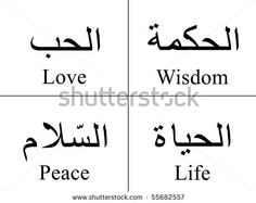 Arabic words isolated on white with their meaning in English for tattoos, topics, symbols and illustrations.