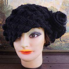 beret hat in black wool $45.00 #Etsy