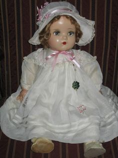 "HUGE 24"" Madame Alexander COMPOSITION & Cloth Baby Genius Doll Original Outfit"