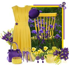 """Yellow & purple"" by albaor ❤ liked on Polyvore"
